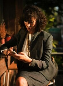 business woman looking at phone
