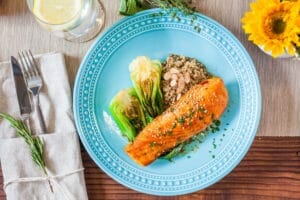 plate of salmon and bok choy