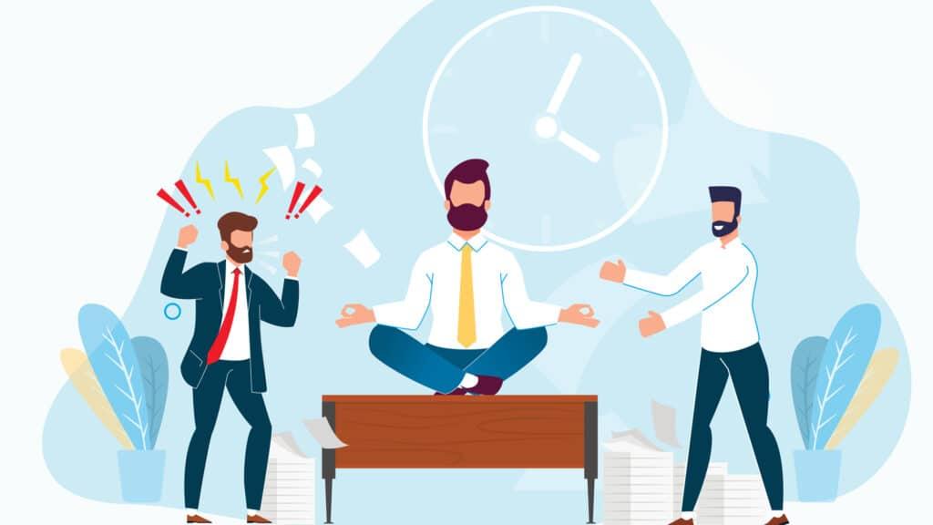 illustration of man meditating on work desk
